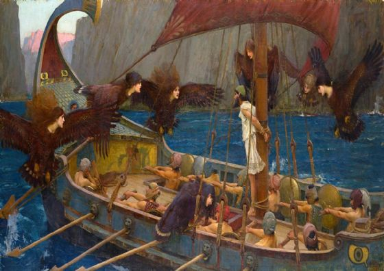 Waterhouse, John William: Ulysses and the Sirens. Mythical Fine Art Print/Poster. Sizes: A4/A3/A2/A1 (00852)